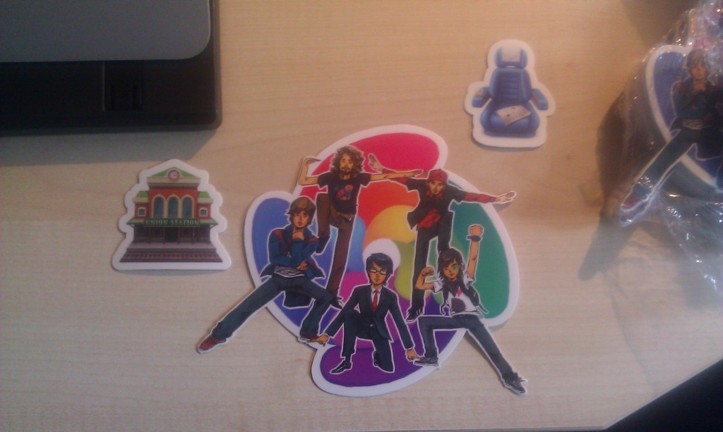 Phusion stickers on the desk